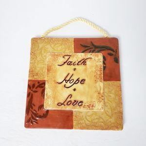 Ceramic rope hang Faith Hope Love square wall art